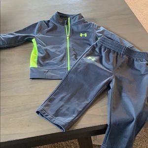 Under Armour baby track suit. Grey/neon green.
